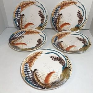 "Pier 1 Feathers Collection 9"" Lot of 5 Plates"